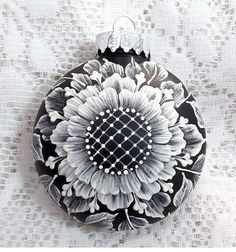 Black Hand Painted 3D MUD Floral Ornament 329 by MargotTheMUDLady on Etsy