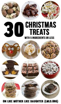30 Christmas Treats with 5 ingredients or less - These treats are all easy to make with few ingredients so you don't have to  buy tons of things before you can make them, plus their easy and all delicious. From cookies, toffee, homemade candy, puppy chow, fudge, truffles and more - these treats are all perfect for sharing this holiday season.