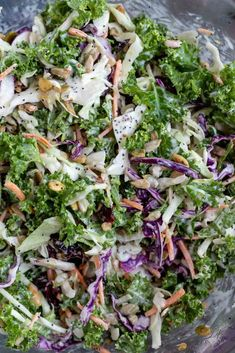 This Kale Slaw Salad Recipe is the best of both worlds, kale salad and coleslaw combined to make a tasty nutritious side dish. Kale, cabbage, seeds and dried cranberries tossed with a creamy poppy seed dressing . Sweet Kale Salad, Salad With Sweet Potato, Kale Salad Recipes, Slaw Recipes, Healthy Recipes, Poppy Seed Coleslaw Recipe, Baked Lemon Pepper Chicken, Kale Slaw, Cabbage Seeds