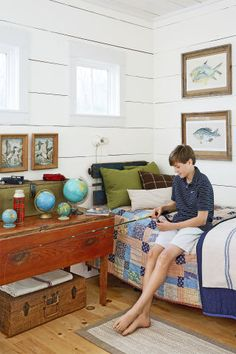 The Ashes made sure that all three children—Hollings, Chatham, and Finn—had spaces to call their own. Finn's room is a treasure trove of thrifty finds, including a railroad crate headboard and mallard paint-by-numbers. Girls Bedroom Furniture, Boys Bedroom Decor, Living Room Decor, Kid Furniture, Bedroom Ideas, Furniture Design, Southern Farmhouse, Farmhouse Decor, Teen Bedroom Designs
