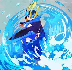 Pokemon: Empoleon (My favorite pokemon. My Pudgy got me through everything. He refused to die on me. Ghost Pokemon, All Pokemon, Pokemon Fan Art, Cute Pokemon, Pokemon Stuff, Pokemon Agua, Eevee Wallpaper, Deadpool Pikachu, Pokemon Starters