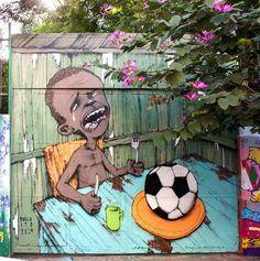 coupe du monde: À trois semaines du début de la compétition internationale de la FIFA, la peinture murale du brésilien Paulo Ito est devenue le symbole des anti-Coupe du monde au Brésil.