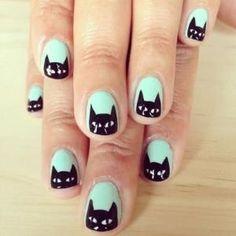 Cute mint & black cat nails #nails #nailart #cats #panache by joy