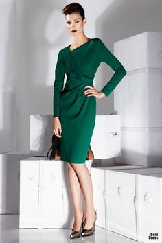 Dress Escada asymmetric neckline, waist detail cool green