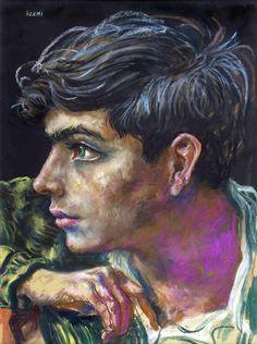 """Antonio Berni, """"Muchacho de perfil"""" pastel 76 x 55 cm."""