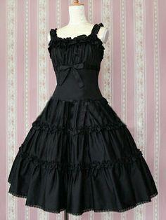 Cotton Black Ruffles Classic Lolita Dress, ocrun.com