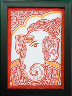 Ganesha - The Elephant God is widely worshiped in India. Ganesha painting has been drawn with red ink pen on canvas and has been framed. Dimensions : 7.75 inch x 5.75 inch (with frame) This is the unique art developed and practiced by me since last 20 years. Taking inspiration