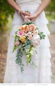 Roses and peonies with lime and silver accents - spring colors (garden style bouquet)
