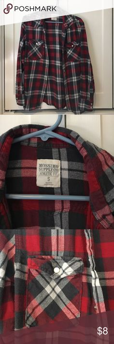 Plaid Flannel Long-sleeve plaid flannel shirt in red, gray, and white. Pairs perfectly with a plain tee and jeans for a cute and casual look! Mossimo Supply Co Tops Button Down Shirts