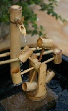 bamboo fountain Thinking about making a bamboo fountain in our garden for the birds, butterflies iguanas, ect. Though would like to recycle the H2O. You can make complicated ones too & I'm looking. Our neighbors & around the area bamboo grows well in the subtropics.
