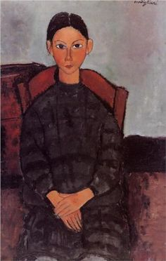 Amedeo Modigliani (1884 -1920)   Expressionism   A Young Girl with a Black Overall - 1918