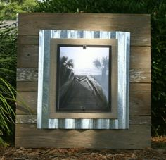 Custom made and individually crafted from reclaimed wood, weathered cedar and pine, with a corrugated aluminum backboard available in Silver, Asparagus, Lime, Pale Blue or Hammered Bronze.