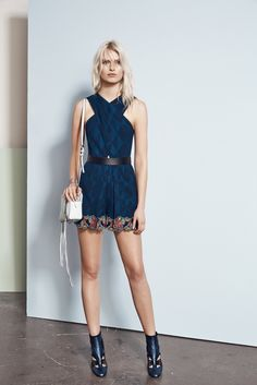 Rebecca Minkoff Resort 2016 - Collection - Gallery - Style.com  How fresh is the white purse with this otherwise dark outfit? The bright navy provides a much more unique contrast than black  http://www.style.com/slideshows/fashion-shows/resort-2016/rebecca-minkoff/collection/20