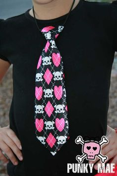Punk Hot Pink and Black Skull and Crossbones Hearts by PunkyMae, $8.00