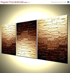 Original Bronze Metallic Textured PAINTING Abstract Gold Art By Lafferty - 12X27 - Three MINI Canvases