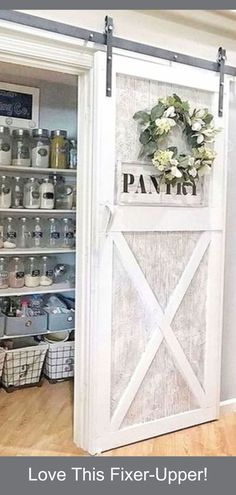 Sliding Barn Doors - DIY Sliding Barn Door Ideas For Your Home - Involvery Before and After Home Decor on a Budget - Fixer upper old farmhouse pantry off the laundry room and kitchen - beautiful organized pantry! Diy Sliding Barn Door, Diy Barn Door, Sliding Doors, Barn Door Pantry, Country Farmhouse Decor, Farmhouse Style, Farmhouse Plans, Country Kitchen, Old Farmhouse Kitchen