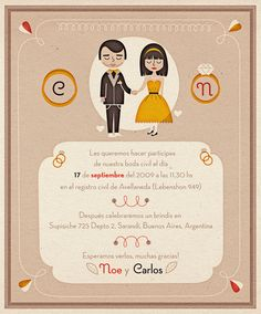 Simple but fun invitations for this no muss no fuss couple designed