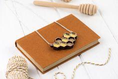 Laser Cut Geometric Gold Mirror Honeycomb by RosebudCasson on Etsy