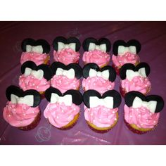 Minnie mouse birthday cupcakes for my granddaughters first birthday (maybe)