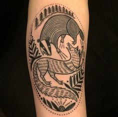 Flickr - Loving Woodcut tattoos more and more. Badger vs. Fox = AWESOME