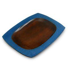 Deep Blue Mango Wood Serving Platter