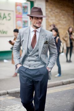 David Gandy in Mid Grey Flannel with DB Vest & Navy Pants    double breasted is making a comeback