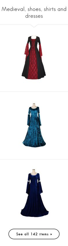 """""""Medieval, shoes, shirts and dresses"""" by flamingfirewolf ❤ liked on Polyvore featuring dresses, medieval, medieval dresses, costumes, long dresses, medieval dress, gowns, party costumes, renaissance lady costume and lady costumes"""