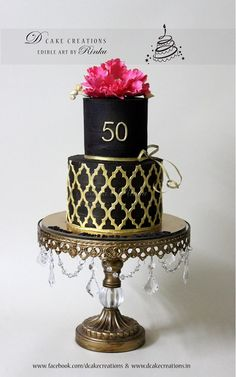 Two Tier Chocolate Cake decorated with Sugar Peony