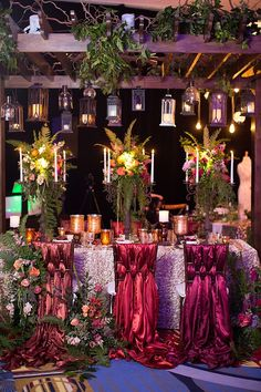 Ombré chair sashes lovely centerpieces, tablescape and lighting makes a beautiful reception or special occasion setting