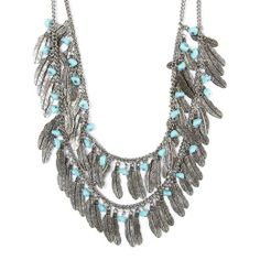 Antique Silver Feathers and Turquoise Stones Multi-Strand Necklace | Icing