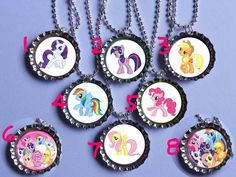 My Little Pony 12 party bottle cap necklace Party Favor pack (12)  / contact me for other quantities needed