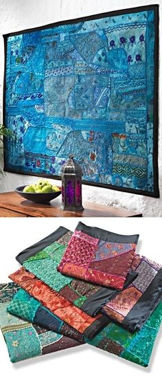 Indian tapestry-I am kind of obsessed with these patchwork tapestries made from embroidered and pieced together bits of Indian textiles.