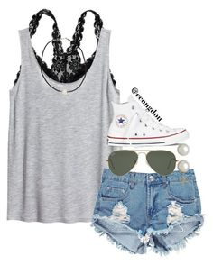 """love love love"" by econgdon ❤ liked on Polyvore featuring Aerie, H&M, Boohoo, Ray-Ban, Converse, Honora and NLY Accessories"
