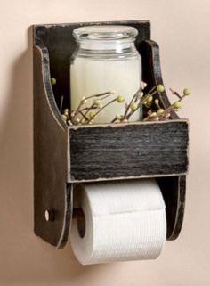 Rustic Toilet Paper Holder with Shelf Country Farmhouse Bathroom Decor, Rustic bathroom decor, Primitive, Housewarming gift idea, home decor Rustic Bathroom Lighting, Rustic Bathroom Designs, Bathroom Ideas, Bathroom Vanities, Bathroom Cabinetry, Budget Bathroom, Bathroom Inspiration, Cabinets, Primitive Bathrooms