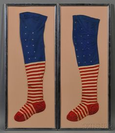 Framed Pair of Patriotic Stars and Stripes Stockings, America, late 19th/early 20th century