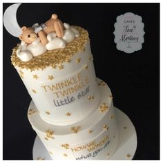 """""""""""Twinkle twinkle little star. How we wonder what you are."""" Gender reveal cake...pink cake inside revealed it's a girl! Congrats Deanna  #cake…"""""""
