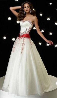 Summer Wedding Dresses All About Wedding: Romantic Strapless Summer Wedding Dress Red Wedding Dresses, Bridal Dresses, Bridesmaid Dresses, Prom Dresses, Red White Wedding Dress, Christmas Wedding Dresses, Ivory Dresses, Wedding Bouquets, Red And White Weddings