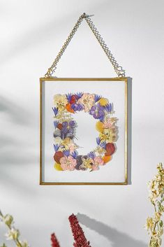 Shop Pressed Flowers Initial Letter Frame at Urban Outfitters today. We carry all the latest styles, colours and brands for you to choose from right here. Pressed Flowers Frame, Dried And Pressed Flowers, Pressed Flower Art, Flower Frame, Dried Flowers, Homemade Paint, Homemade Crafts, Flower Letters, Initial Letters