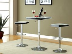 """HT. ADJUSTABLE ABS BAR TABLE + BAR STOOLS W/ WHITE TOP $120  SWIVEL BAR TABLE [CM-BT6914WH] 23""""W X 23""""D X 27 1/4""""H (UP TO 37 1/4""""H)  SWIVEL BAR STOOL [CM-BR6914WH] 15 3/8""""W X 15 3/8""""D X 24""""H (UP TO 32 3/8""""H)"""