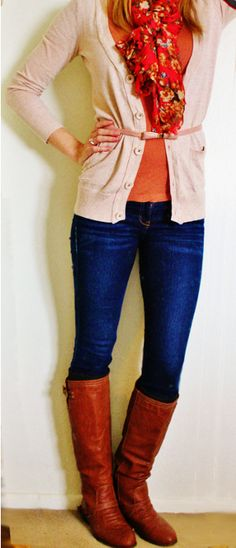 Scarf- Sears, Cardigan- Khols, Top- Forever XXI, Belt- Forever XXI, Jeans- Hollister, Boots- Amazon.com, Boot socks- Rue21