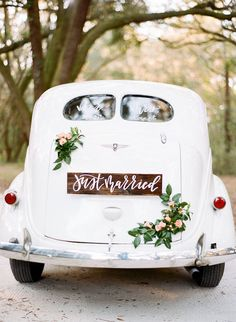 """Custom calligraphy """"Just Married Sign"""" and delicate florals on our vintage wedding getaway car. Wedding Getaway Car, Car Wedding, Wedding Photos, Formal Wedding, Just Married Sign, Bridal Car, Wedding Car Decorations, Wedding Color Combinations, Wedding Transportation"""
