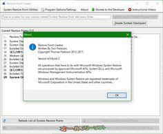 Restore Point Creator 4.9 Build 2  Restore Point Creator--About--オールフリーソフト