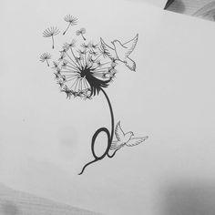29 Ideas Line Art Tattoo Butterfly Art Deco Tattoo, Line Art Tattoos, Life Tattoos, Body Art Tattoos, New Tattoos, Small Tattoos, Tatoos, Dandelion Drawing, Dandelion Tattoo Design