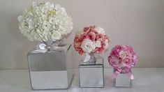 Elegant rose and hydrangeas mirror box are great to have for a centerpiece or any type of elegant event that you may have. Birthday Centerpieces, Diy Centerpieces, Diy Wedding Decorations, Centerpiece Wedding, Centerpieces With Mirrors, Wedding Ideas, Glam Mirror, Mirror Box, Diy Mirror