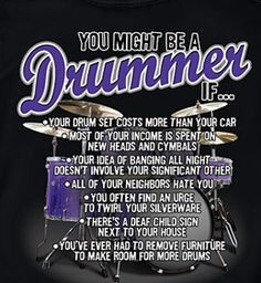 You might be a drummer if. Drummer Humor, Drummer Quotes, Music Memes, Music Humor, Music Quotes, Cool Illusions, Band Rooms, Drums Art, Drum Music