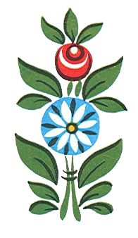Folk Gorodets painting from Russia. A nice simple design for painted furniture detail.