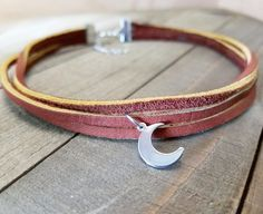 Moon choker necklace | Hand cut brown leather