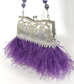 TIFFANY White Version Currently Featured in by SherriWeeseDesigns - Stylehive Purple Love, All Things Purple, Purple Rain, Shades Of Purple, Tiffany White, Purple Purse, Unique Purses, Purple Fashion, Beaded Bags