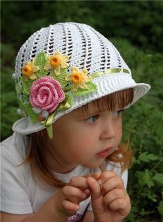 DIY Crochet Pretty Panama Hat for Girls pretty sun hat