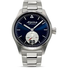 Alpina Startimer Pilot Quartz Watch, 44mm ($1,150) ❤ liked on Polyvore featuring men's fashion, men's jewelry, men's watches, alpina mens watches and mens quartz watches